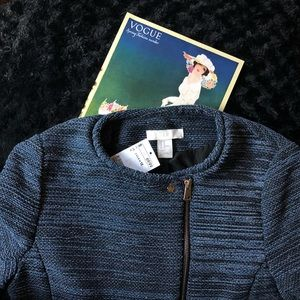 H&M Textured Weave Moto Jacket - size 12